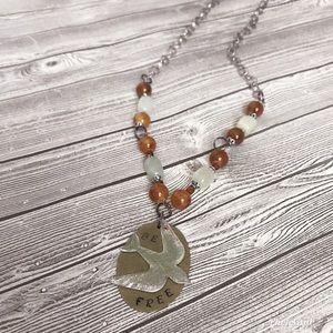 Boho handmade handstamped beaded necklace